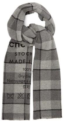 Acne Studios Cassiar Logo-print Checked Wool Scarf - Mens - Grey