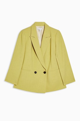 Topshop Womens Petite Lime Green Marl Double Breasted Blazer - Lime