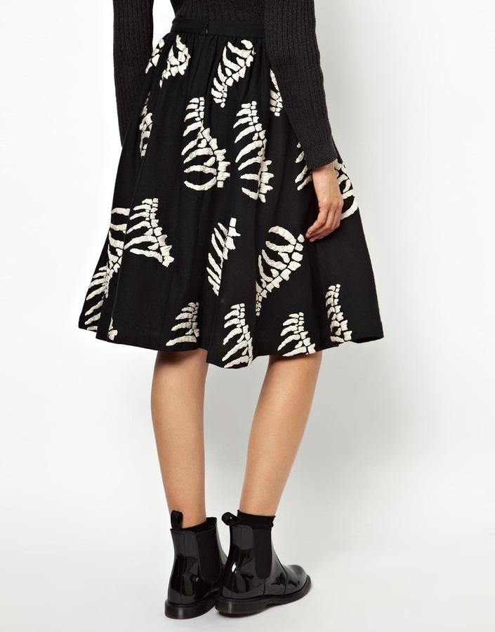 YMC Bones Full Skirt in Embroidered Wool