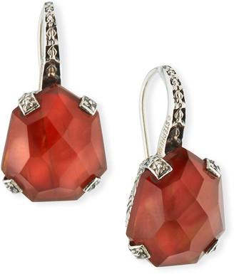Stephen Dweck Galactical Doublet Drop Earrings in Mother-of-Pearl & Garnet