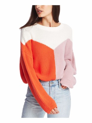 1 STATE Womens Orange Color Block Long Sleeve Crew Neck Blouse Top Juniors Size: S