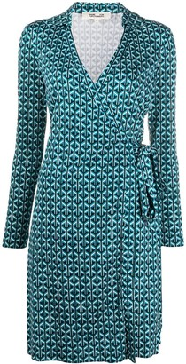 Diane von Furstenberg geometric tile print wrap dress