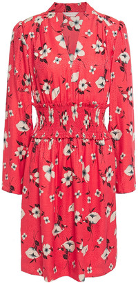 Rebecca Taylor Shirred Silk-blend Floral-jacquard Mini Dress