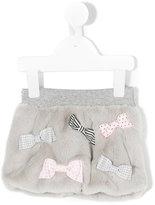 Lapin House bows embellished fur skirt