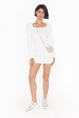 Nasty Gal Womens You Gotta Sleeve Ribbed Mini Dress - Ecru