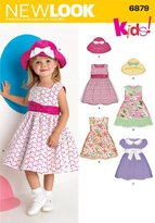New Look 6879 Size A Toddler Dresses Sewing Pattern, Multi-Colour