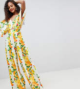 Asos Tall Asos Design Tall Kimono Jumpsuit With Wide Leg In Fruit Print