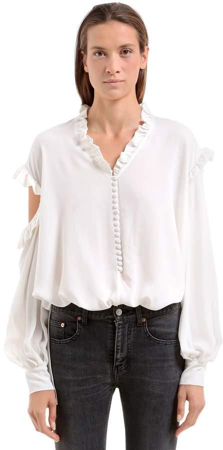 Magda Butrym Open Shoulders Silk Crepe De Chine Shirt