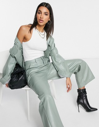 Neon Rose relaxed wide-legged pants in faux-leather co-ord