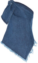 Marques Almeida Marques' Almeida - One-shoulder Asymmetric Frayed Denim Top - Mid denim