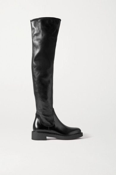 Prada 50 Smooth And Glossed-leather Knee Boots - Black