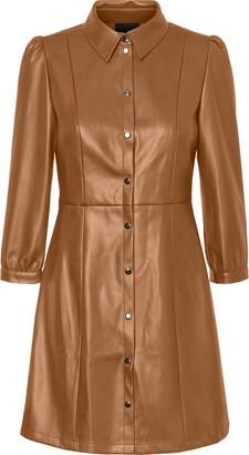 Vero Moda Molly Butter Faux Leather Dress