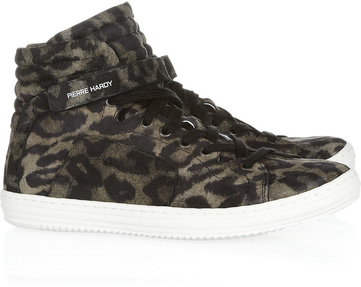 Pierre Hardy Leopard-print suede high-top sneakers