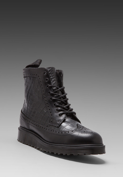Dr. Martens Marcus Croc Brogue Boot in Black/Black