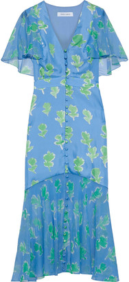 Prabal Gurung Printed Chiffon-paneled Silk-twill Midi Dress