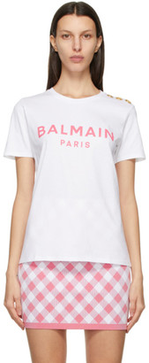 Balmain White and Pink Button Logo T-Shirt