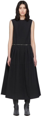 we11done Black Zip Detail Long Dress