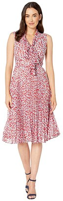 Maggy London Animal Spot Printed Chiffon Fit and Flare Dress (Soft White/Red) Women's Dress