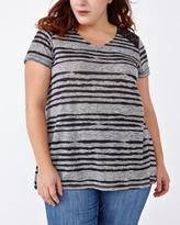Penningtons Relaxed Fit Striped T-Shirt with Lace