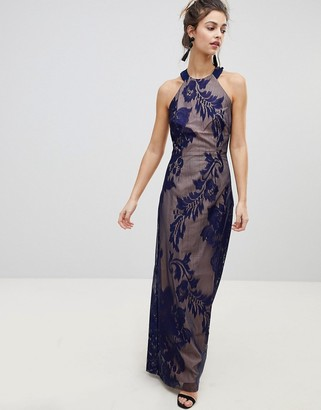 Little Mistress embellished high neck maxi dress-Navy