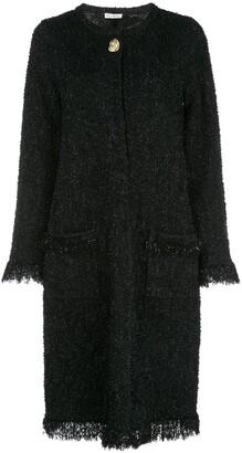 Oscar de la Renta Frayed Longline Cardigan Jacket