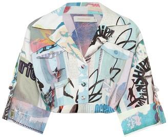Zimmermann Glassy cropped linen shirt