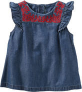 Osh Kosh Oshkosh Cap Sleeve Chambray Top-Toddler Girls