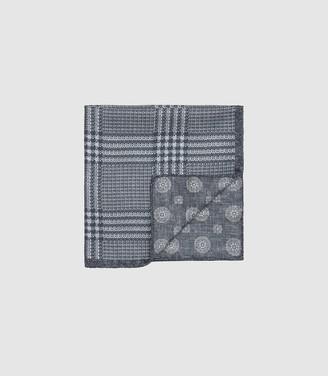 Reiss Owen - Double Sided Silk Pocket Square in Grey