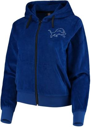 Women's Blue Detroit Lions Velour Suit Full-Zip Hoodie