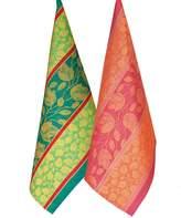 [A] Armani International Luxury European Jacquard Linen-Cotton 2 Dish Towel Set, Foglio