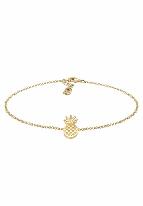 Elli Women's 925 Silver Gold Plated Pineapples Tropical Summer Anklet - 22cm length