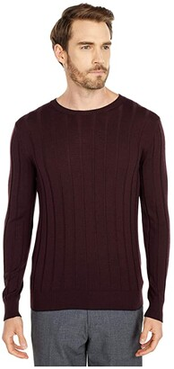 Eleventy Ribbed Crew Neck Sweater w/ Tipping (Ruby/Navy) Men's Clothing