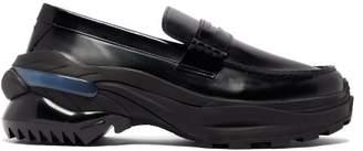 Maison Margiela Raised Sole Leather Penny Loafers - Mens - Black
