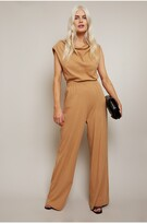 Thumbnail for your product : Little Mistress Aga Jersey Jumpsuit With Shoulder Pads And Cowl Neckline