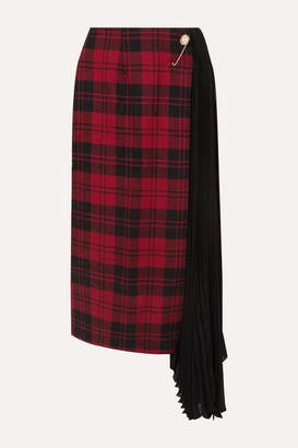 Mother of Pearl Marita Asymmetric Checked Wool And Pleated Chiffon Skirt - Red