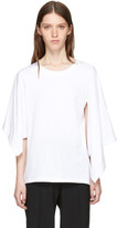 J.W.Anderson White Asymmetric Drape Sleeve T-Shirt