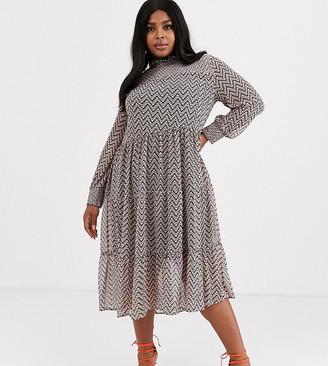 Simply Be tiered smock dress with zig zag chevron print-Multi