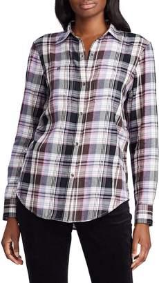 Chaps Petite Plaid Cotton Shirt