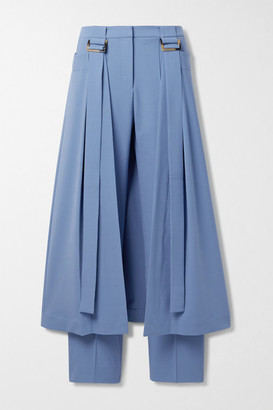 Palmer Harding Reona Layered Grain De Poudre Straight-leg Pants - Blue