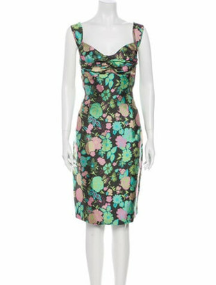 Barbara Tfank Floral Print Knee-Length Dress Green