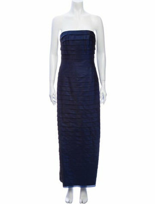 Carmen Marc Valvo Silk Long Dress Blue