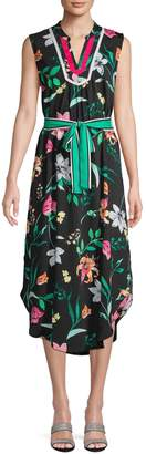Laundry by Shelli Segal Floral Midi Tie Shirtdress