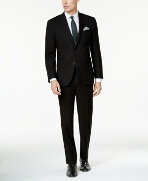Kenneth Cole Reaction Men's Big and Tall Ready Flex Solid Black Slim-Fit Suit