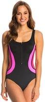 Fit 4 U Fit4U Color Blocks Zipper Tank One Piece Swimsuit 8113517