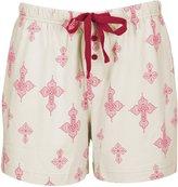 Leisureland Women's Cotton Knit Lounge Pajama Boxer Shorts Vintage Botanical Floral XL
