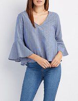 Charlotte Russe Bell Sleeve Bar Back Top