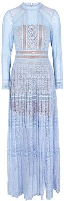 Self-Portrait Light Blue Guipure Lace Maxi Dress