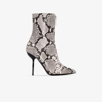 Unravel Project grey 100 snake print ankle boots