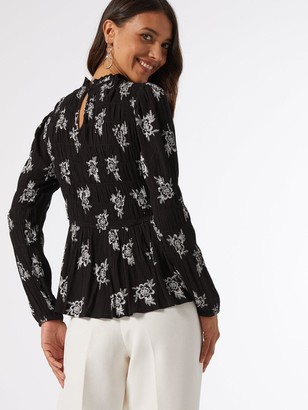 Dorothy Perkins Shirred Body Long Sleeve Floral Top - Black