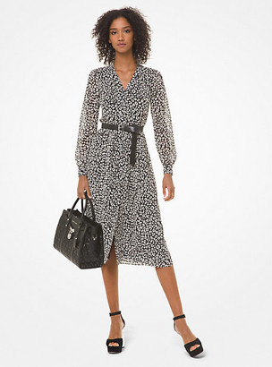 Michael Kors Leopard Georgette Shirtdress